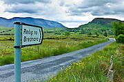 Reilig Na Breanana gaelic sign in Gaeltecht area of Connemara, County Galway, Ireland
