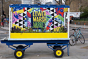 Sign on an old market traders trolley for Lower Marsh Market on 13th April 2021 in London, United Kingdom. Based in Waterloo, Lower Marsh Market is one of Londons oldest and most historic markets.
