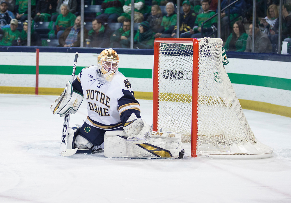 February 15, 2019:  Notre Dame goaltender Cale Morris (32) makes the save during NCAA Hockey game action between the Wisconsin Badgers and the Notre Dame Fighting Irish at Compton Family Ice Arena in South Bend, Indiana.  Wisconsin defeated Notre Dame 2-1.  John Mersits/CSM