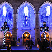Angel lights decorate the main entrace of the Basilique Notre-Dame de Montreal for Christmas.