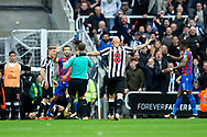 Newcastle United players react following a foul by Yohan Cabaye (#7) of Crystal Palace on DeAndre Yedlin (#22) of Newcastle United during the Premier League match between Newcastle United and Crystal Palace at St. James's Park, Newcastle, England on 21 October 2017. Photo by Craig Doyle.
