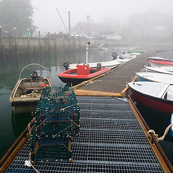 A foggy morning at the fisherman's co-op in Stonington, Maine.