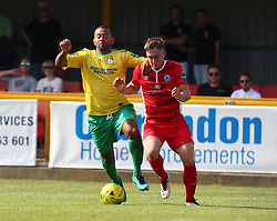 August 28, 2017 - London, United Kingdom - Jake Robinson of Billericay Town beats Joe Bruce of Thurrock FC.during Bostik League Premier Division match between Thurrock vs Billericay Town at  Ship Lane Ground, Aveley on 28 August 2017  (Credit Image: © Kieran Galvin/NurPhoto via ZUMA Press)