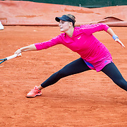 PARIS, FRANCE September 28. Katarina Zavatska of The Ukraine in action against Kiki Bertens of The Netherlands in the first round of the singles competition on Court Suzanne Lenglen during the French Open Tennis Tournament at Roland Garros on September 28th 2020 in Paris, France. (Photo by Tim Clayton/Corbis via Getty Images)