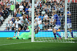 Derby County's Johnny Russell headed shot is saved - Photo mandatory by-line: Dougie Allward/JMP - Mobile: 07966 386802 30/08/2014 - SPORT - FOOTBALL - Derby - iPro Stadium - Derby County v Ipswich Town - Sky Bet Championship