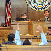 012615  Adron Gardner/Independent<br /> <br /> Speaker pro tem Kee Allen Begay, right, and council delegates react to hearing a 12 to12 vote tie between Alton Shepherd and Lorenzo C. Bates for speaker during the Navajo Nation Tribal Council winter session in Window Rock Monday.