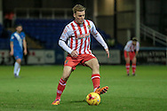 Tom Conlon (Stevenage) about to cut inside the defender and shoot towards the goal. He scores with an effort from outside the box to make it 1-0 to Stevenage during the Sky Bet League 2 match between Hartlepool United and Stevenage at Victoria Park, Hartlepool, England on 9 February 2016. Photo by Mark P Doherty.