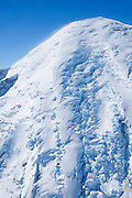 This close-up aerial view shows how the Emmons Glacier on Mount Rainier breaks up as it reaches the lower part of the mountain.