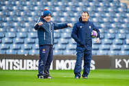 SU Agen head coach, Christophe Laussucq shares a joke with Edinburgh Rugby head coach, Richard Cockerill before the European Rugby Challenge Cup match between Edinburgh Rugby and SU Agen at BT Murrayfield, Edinburgh, Scotland on 18 January 2020.