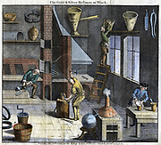 Gold and silver refiners. Engraving 1747