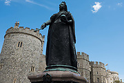 A statue of Queen Victoria stands outside Windsor Castle on the official birthday of Queen Elizabeth II on 13th June 2020 in Windsor, United Kingdom. A scaled-down and socially-distanced Trooping the Colour ceremony took place inside the castle to mark the occasion during the COVID-19 pandemic.