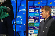 Graham Potter head coach of Brighton & Hove Albion during his TV interview during the Premier League match between Leeds United and Brighton and Hove Albion at Elland Road, Leeds, England on 16 January 2021.