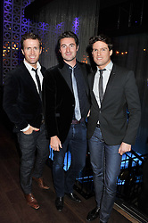 Left to right, members of Blake HUMPHREY BERNEY, OLLIE BAINES and STEPHEN BOWMAN at the ZEO 'Just January' Party held at the Buddha Bar, 145 Knightsbridge, London SW1 on 31st January 2013.