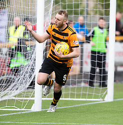 Alloa Athletic's Greg Spence cele scoring their first goal from a  penalty. half time : Alloa Athletic 2 v 1 Brechin City, Ladbrokes Championship Play-Off 2nd Leg at Alloa Athletic's home ground, Recreation Park, Alloa.