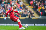 Heurelho Gomes (GK) (Watford) during the FA Cup semi-final match between Watford and Wolverhampton Wanderers at Wembley Stadium in London, England on 7 April 2019.
