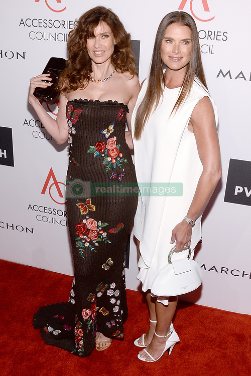 (L-R) Model Carol Alt and Brooke Shields attend the Accessories Council's 21st Annual celebration of the ACE awards at Cipriani 42nd Street in New York, NY, on August 7, 2017. (Photo by Anthony Behar) *** Please Use Credit from Credit Field ***