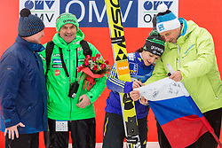Stane Baloh, Maja Vtic of Slovenia and Borut Pahor, president of Slovenia during the Trophy ceremony at Day 2 of World Cup Ski Jumping Ladies Ljubno 2016, on February 14, 2016 in Ljubno, Slovenia. Photo by Vid Ponikvar / Sportida