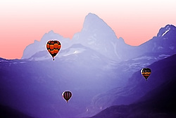 Artistic rendition of Hot air balloon races, Grand Tetons, Teton Valley Idaho based from photograph