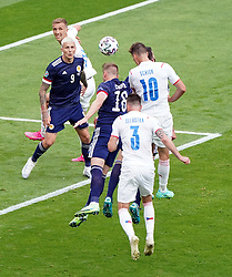 Czech Republic's Patrik Schick scores their side's first goal of the game during the UEFA Euro 2020 Group D match at Hampden Park, Glasgow. Picture date: Monday June 14, 2021.