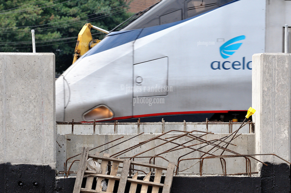 Amtrak Acela movement through the construction of the Commuter Railroad Station at Fairfield Metro Center, CT - Site visit 14 of once per month Chronological Documentation.
