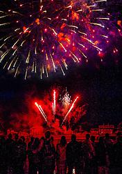 Fireworks for Bastille Day 14th July Honfleur France
