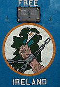 A Republican mural proclaiming a Free Ireland and with the names of local IRA volunteers in a Roll of Honour, killed in the 70s and 80s during the Troubles, on 7th June 1995, in Belfast, Northern Ireland, UK.