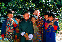 Group of Bhutanese children, Lumitsawa, Punakha Valley, Bhutan
