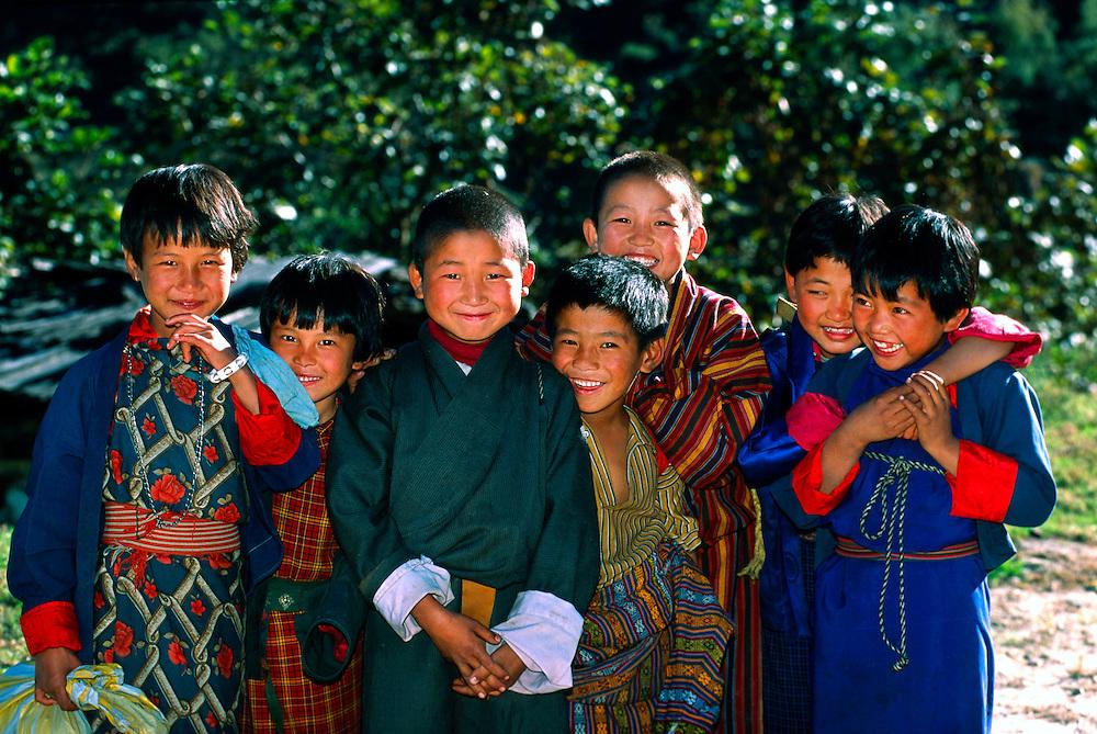 Group of Bhutanese children, Lumitsawa, Punakha Valley, Bhutan