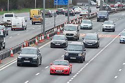 © Licensed to London News Pictures 02/04/2021. Dartford, UK. Anti-clockwise traffic on the A282 Dartford Crossing approach in Kent. Easter getaway traffic on the roads in the UK is expected to be a lot quieter this Easter Friday as people stay home because of Coronavirus restrictions. Photo credit:Grant Falvey/LNP