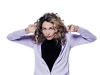 caucasian woman warn pointing  portrait isolated studio on white background