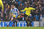 Brighton & Hove Albion central midfielder Dale Stephens & Burton Albion striker Marvin Sordell (9) during the EFL Sky Bet Championship match between Brighton and Hove Albion and Burton Albion at the American Express Community Stadium, Brighton and Hove, England on 11 February 2017. Photo by Bennett Dean.