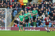 Joey Barton of Burnley swings in a free kick over the Lincoln city wall but misses the goal. The Emirates FA cup 5th round match, Burnley v Lincoln City at Turf Moor in Burnley, Lancs on Saturday 18th February 2017.<br /> pic by Chris Stading, Andrew Orchard Sports Photography.