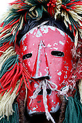 """One """"Careto"""" mask in Podence Carnival. Podence is a very small village in Northeast Portugal that  promotes its festivities as the """"most traditional ones"""" in the country. Men and boys wear a wool suit that was usually handcrafted by the owner when he was an adolescent and traditionally women were not allowed to participate."""