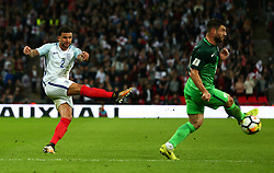 Kyle Walker of England shoots at goal - Mandatory by-line: Robbie Stephenson/JMP - 05/10/2017 - FOOTBALL - Wembley Stadium - London, United Kingdom - England v Slovenia - World Cup qualifier