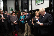 RACHEL KELLY; BORIS JOHNSON, Launch of Rachel Kelly's memoir 'Black Rainbow' about recovering from depression with the help of poetry published by Hodder & Stoughton , ( Author proceeds will be given to the charities SANE and United Response ). Cafe of the National Gallery.  London. 7 May 2014