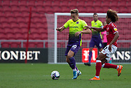 Exeter City's Archie Collins (10) comes under pressure from Bristol City's Han-Noah Massengo (42) during the EFL Cup match between Bristol City and Exeter City at Ashton Gate, Bristol, England on 5 September 2020.