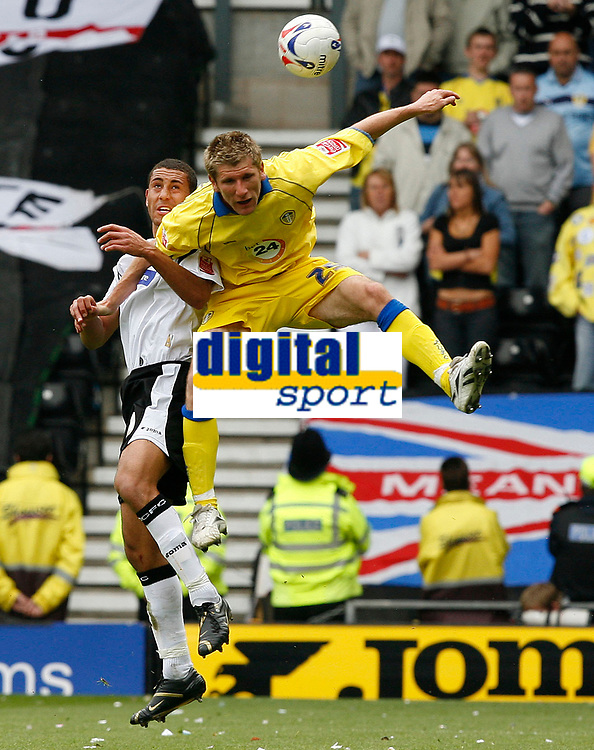 Photo: Steve Bond.<br />Derby County v Leeds United. Coca Cola Championship. 06/05/2007. Richard Cresswell in mid air