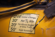 Detail of a destroyed taxi cab that is part of a collection of artifacts saved from the site of the World Trade Center after 9/11. Artifacts chosen by curators out of the wreckage  from the World Trade Center  stored temporarily within an 80,000 square foot hanger at JFK airport. Some of the artifacts will be in the National September 11 memorial Museum set to open in 2012.