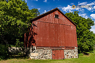 Old red barn in the TJ Walker historic district of Fort Ransom, North Dakota, USA