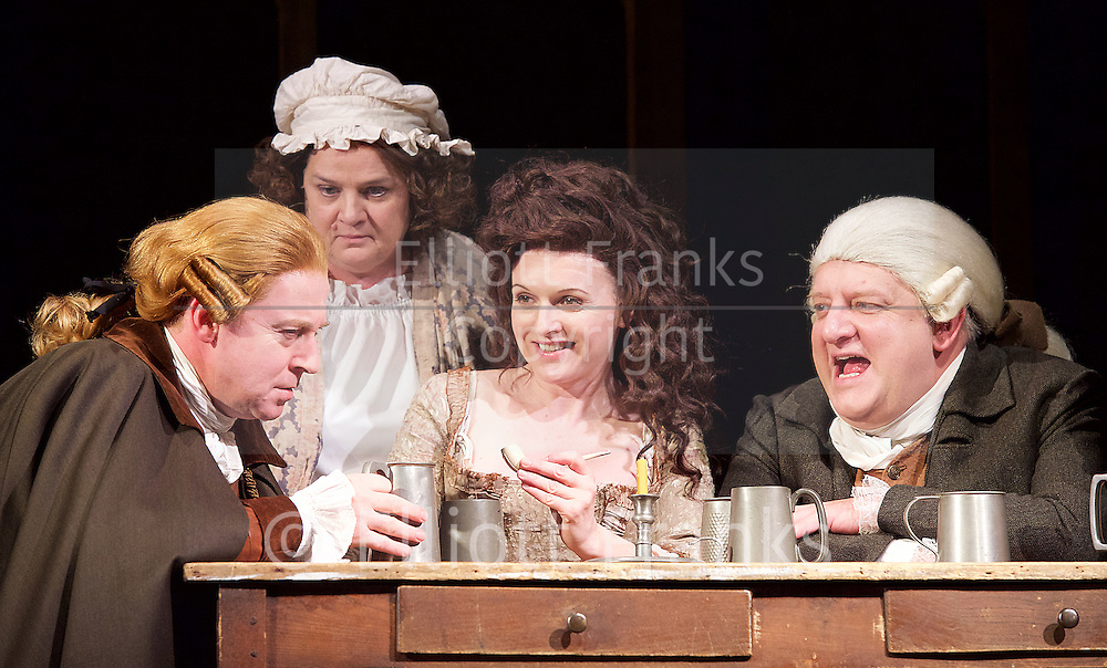 Mr Foote's Other Leg <br /> by Ian Kelly <br /> at Theatre Royal Haymarket, London, Great Britain <br /> press photocall<br /> 30th October 2015 <br /> <br /> <br /> <br /> <br /> Forbes Masson as John Hunter<br /> Jenny Galloway as Mrs Garner <br /> Dervla Kirwan as Peg Woffington <br /> Simon Russell Beale as Samuel Foote<br /> Joseph Millson as David Garrick <br /> <br /> <br /> <br /> Photograph by Elliott Franks <br /> Image licensed to Elliott Franks Photography Services