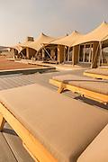 Sun loungers at Haonib Safari Camp, Skeleton Coast, North Namibia, Southern Africa