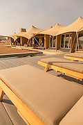 Sun loungers at Haonib Safari Camp, Skeleton Coast, North Namibia, Southern Africa