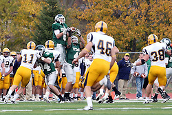 12 November 2011:  Tate Musselman and Brett Robinson try to share a reception during an NCAA division 3 football game between the Augustana Vikings and the Illinois Wesleyan Titans in Tucci Stadium on Wilder Field, Bloomington IL
