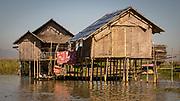 Nan Pan bamboo stilt houses on then floating city in Inle Lake Myanmar