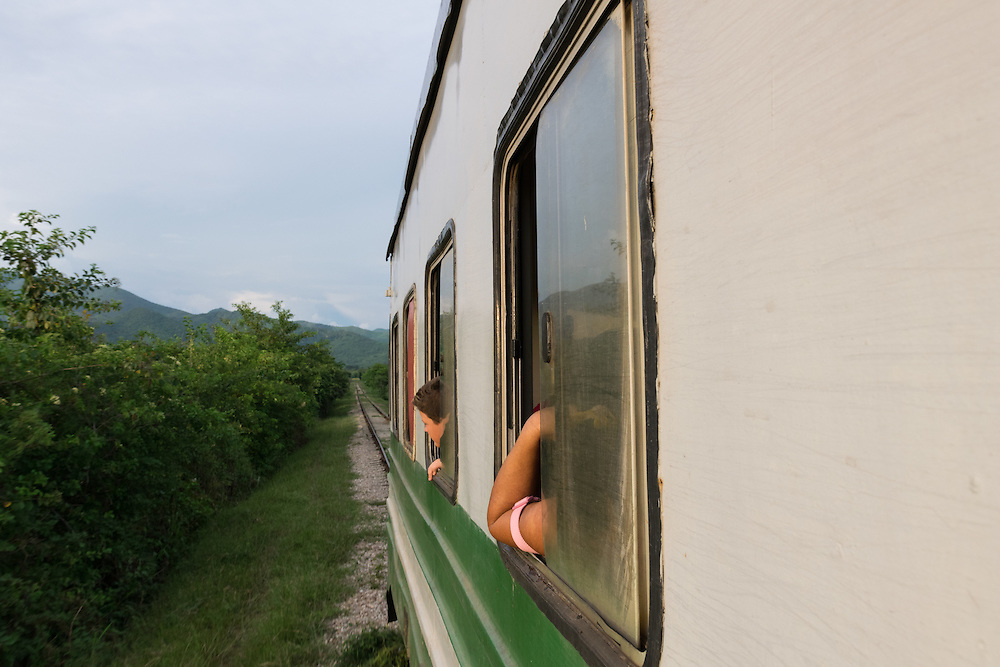 On the commuter train home from Trinidad to nearby villages and hamlets.