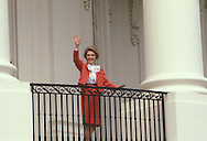 .Nancy Reagan waves from the Truman balcony  April of 1981..Photograph by Dennis Brack BS B14