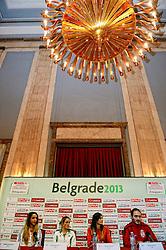 07-12-2013 ATHLETICS: SPAR EC CROSS COUNTRY: BELGRADE<br /> Press conference regarding the SPAR European Cross Country Championships held in the city of Belgrade Ceremonial Assembly Hall /  (L-R) Emelia Gorecka GBR, Fionnuala Britton IRE, Amela Terzic SRB and  Goran Nava SRB<br /> ©2013-WWW.FOTOHOOGENDOORN.NL