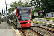 Light rail city transport system tram train,  Bergen, Norway destination Byparken