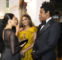 The Duchess of Sussex meets Beyonce and Jay-Z at the European Premiere of Disney's The Lion King at the Odeon Leicester Square, London.