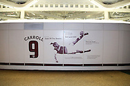 an advertising board shows new graphic of Andy Carroll of West Ham United  which replaces the old Dimitri Payet graphic which was on the side of the London Stadium. Premier league match, West Ham Utd v Manchester city at the London Stadium, Queen Elizabeth Olympic Park in London on Wednesday 1st February 2017.<br /> pic by John Patrick Fletcher, Andrew Orchard sports photography.